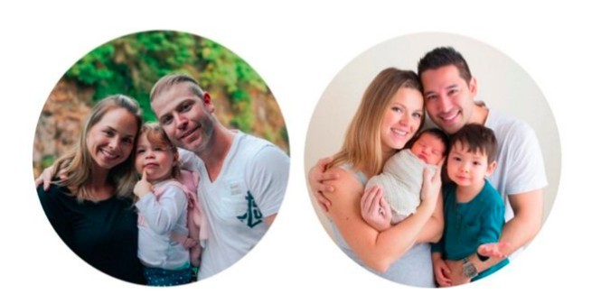 Left: Kyle & his family, Right: Carson & his family