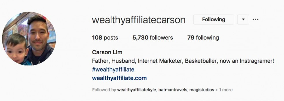 How to Avoid Affiliate Marketing Scams - The founder of Wealthy Affiliate - Carson's instagram page.