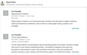 Six Figure Mentors Review – Stuart Ross's Linkedin Profile