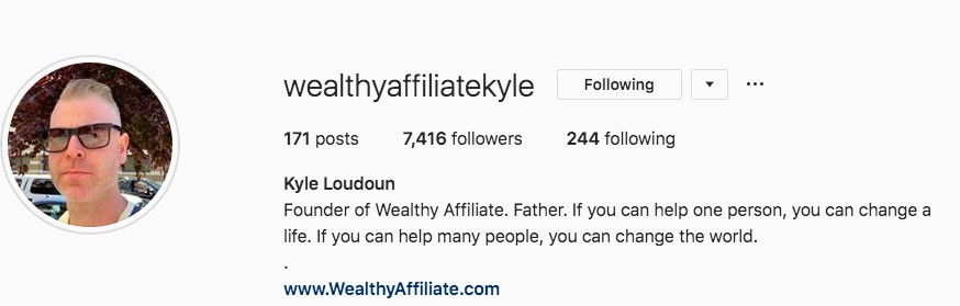 How to Avoid Affiliate Marketing Scams - The founder of Wealthy Affiliate - Kyle's instagram page.