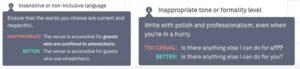 Grammarly Premium checks Insensitive or non-inclusive language and Inappropriate tone or formality level.