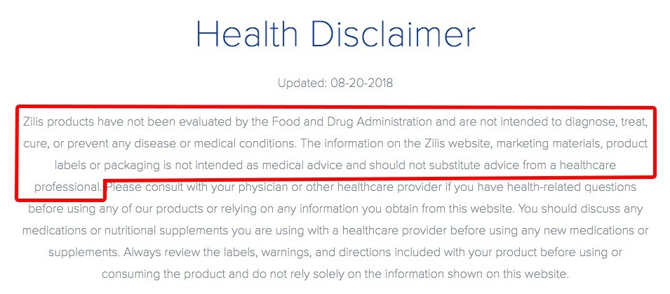 Zilis Review – Healthy Disclaimer
