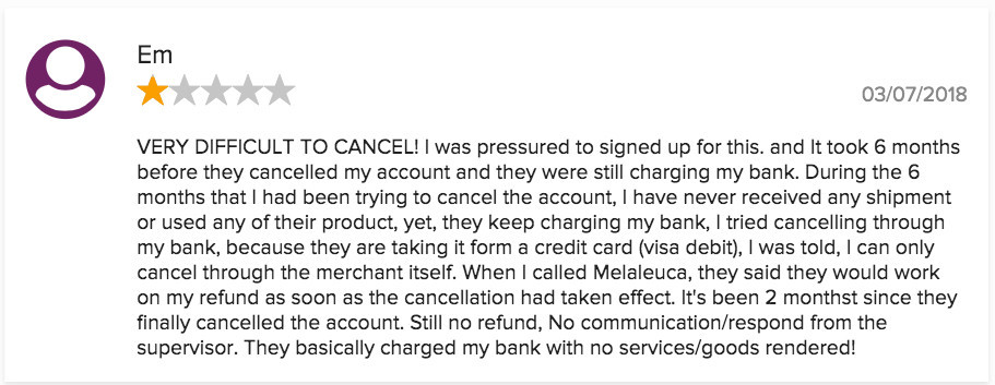 Complaints for Melaleuca's Cancellation Process