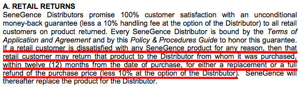 SeneGence provides a 12-month money-back guarantee.