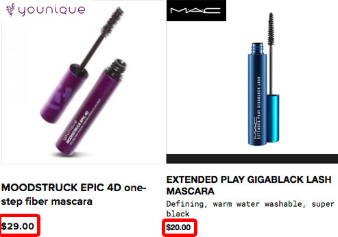 Younique products are pricey than other bradns