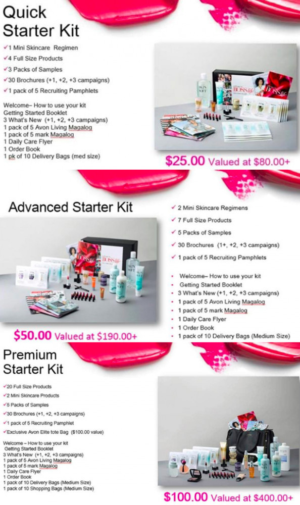 Three different starter kits from Avon