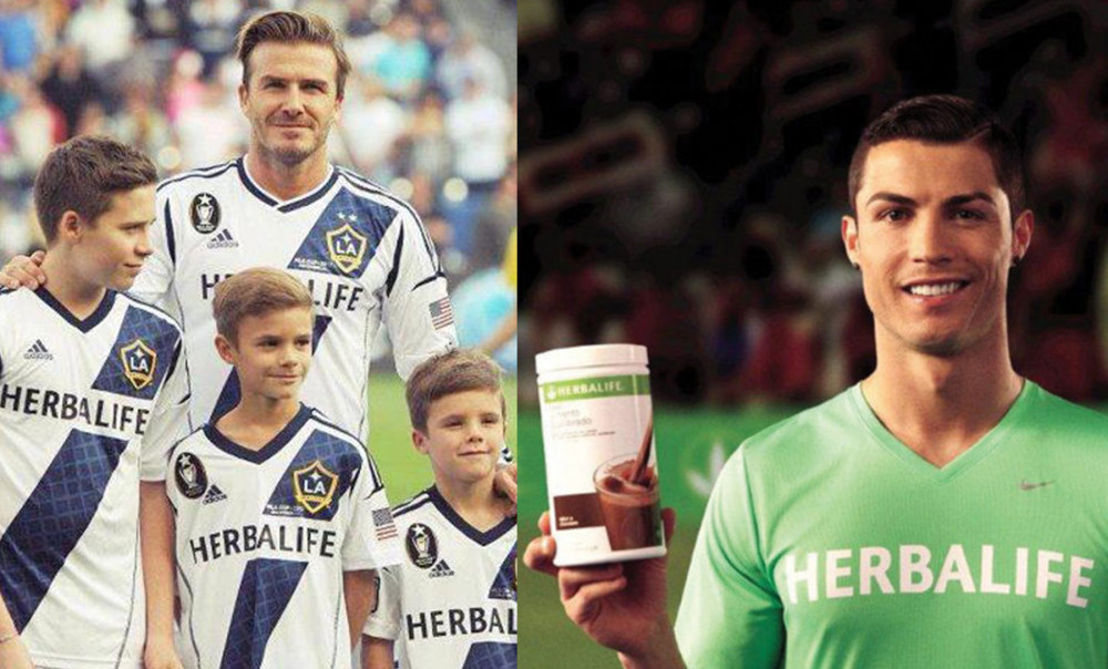 Herbalife sponsored(spent lots of money) football stars to wear or promote its products.