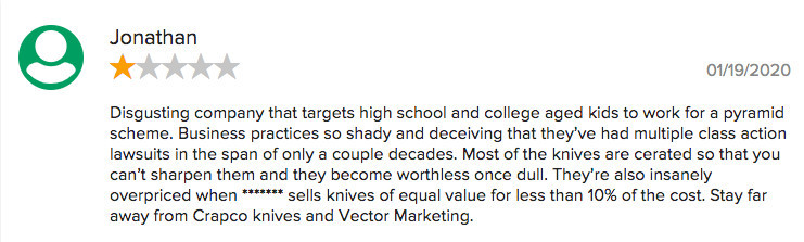 Is Cutco A Scam? - Negative comment for Vector Marketing